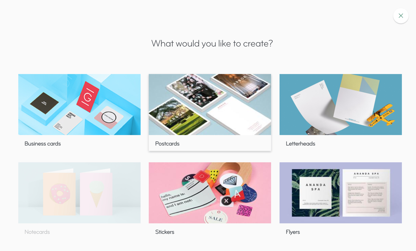 MOO Demo - Customers are guided through an intuitive and easy-to-follow creation process while designing products segmented by type: business cards, postcards, notecards, stickers, letterhead and flyers.