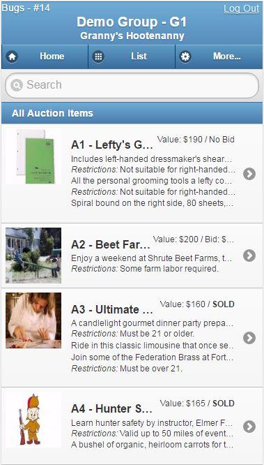 Silent Auction Pro Demo - Mobile Item List Page