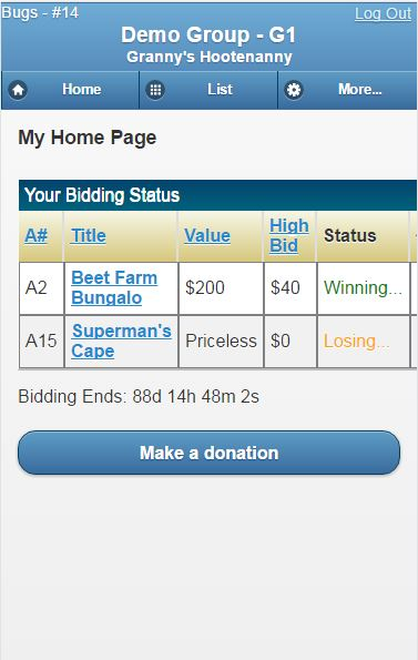 Silent Auction Pro Demo - Mobile Bidder Home Page