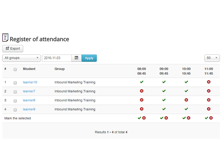JoomlaLMS Demo - Attendance Tracking