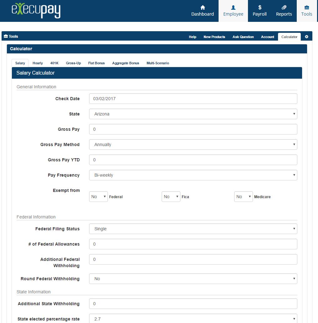 Execupay Demo - Execupay PlatinumPay Xpress Payroll Calculator