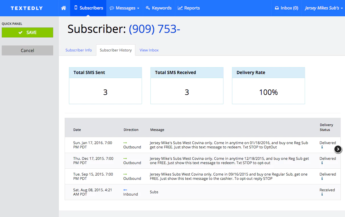 Textedly Demo - Manage Your Subscribers