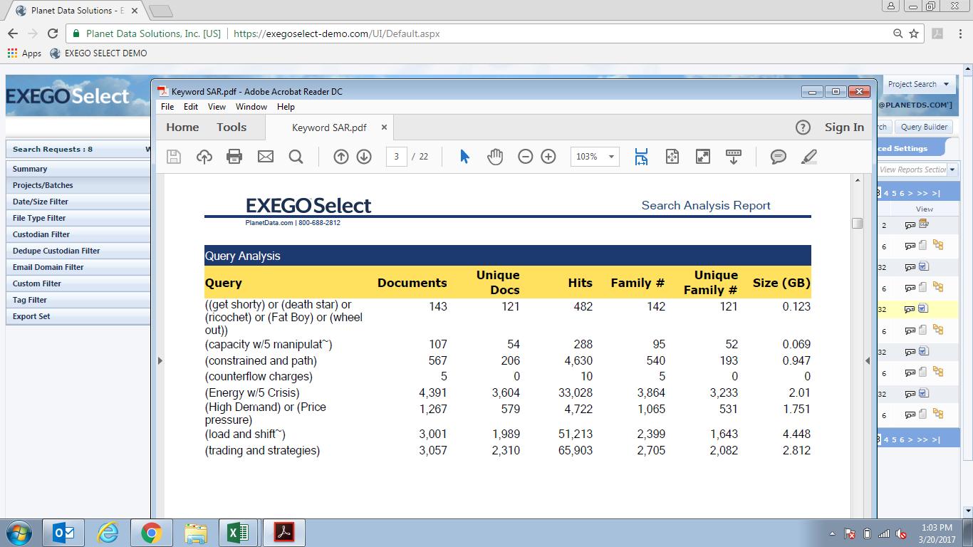 Exego Demo - Exego Select | Query Analysis