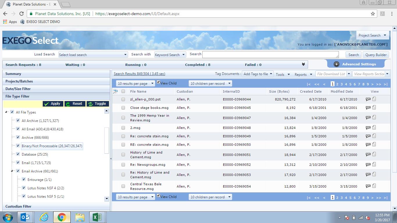 Exego Demo - Exego Select | File Type filter