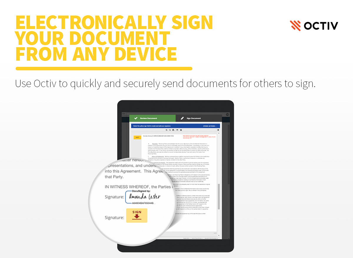 Octiv Demo - Octiv Offers Electronic Signature