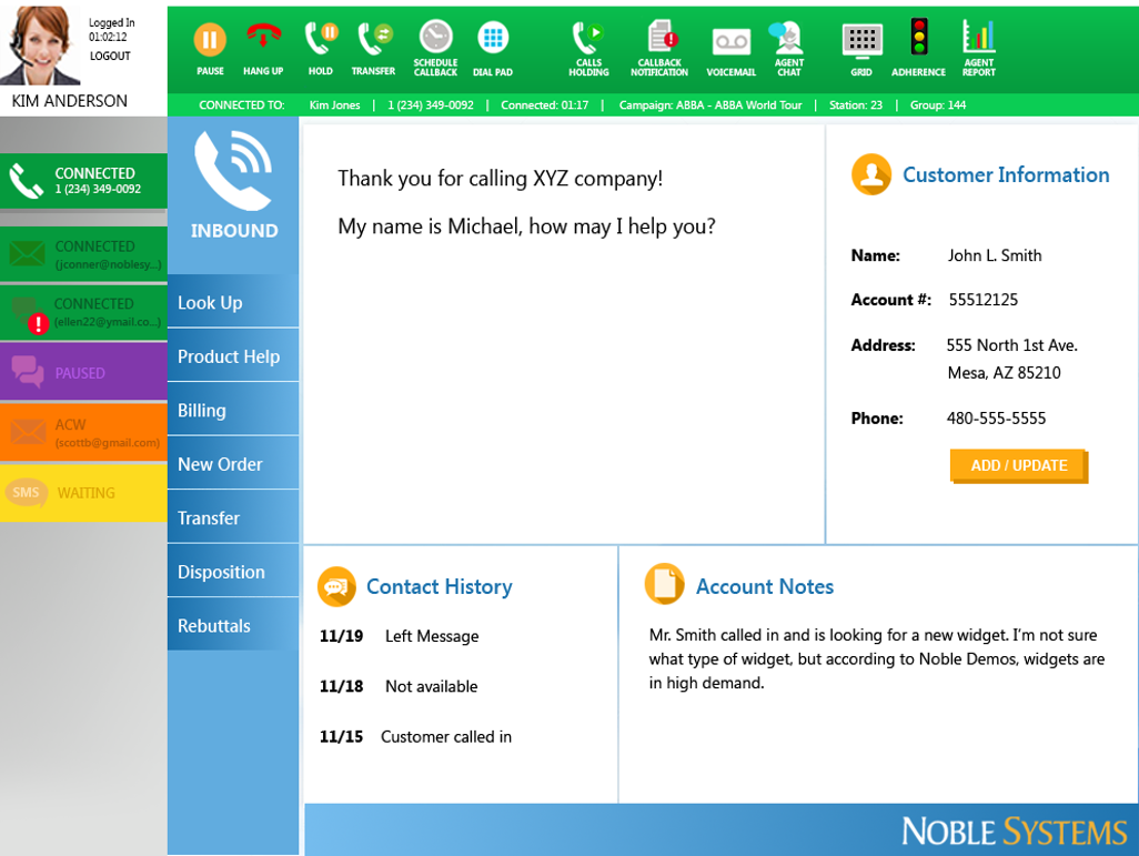 The Noble Solution Demo - Noble Composer Omnichannel Agent Desktop