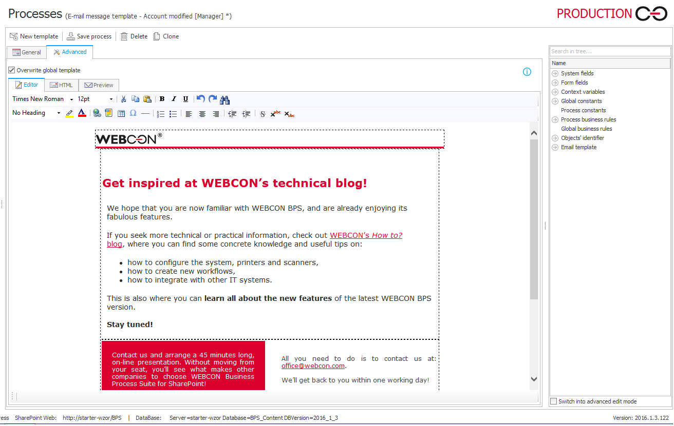 WEBCON BPS Demo - Versatile e-mail notification editor
