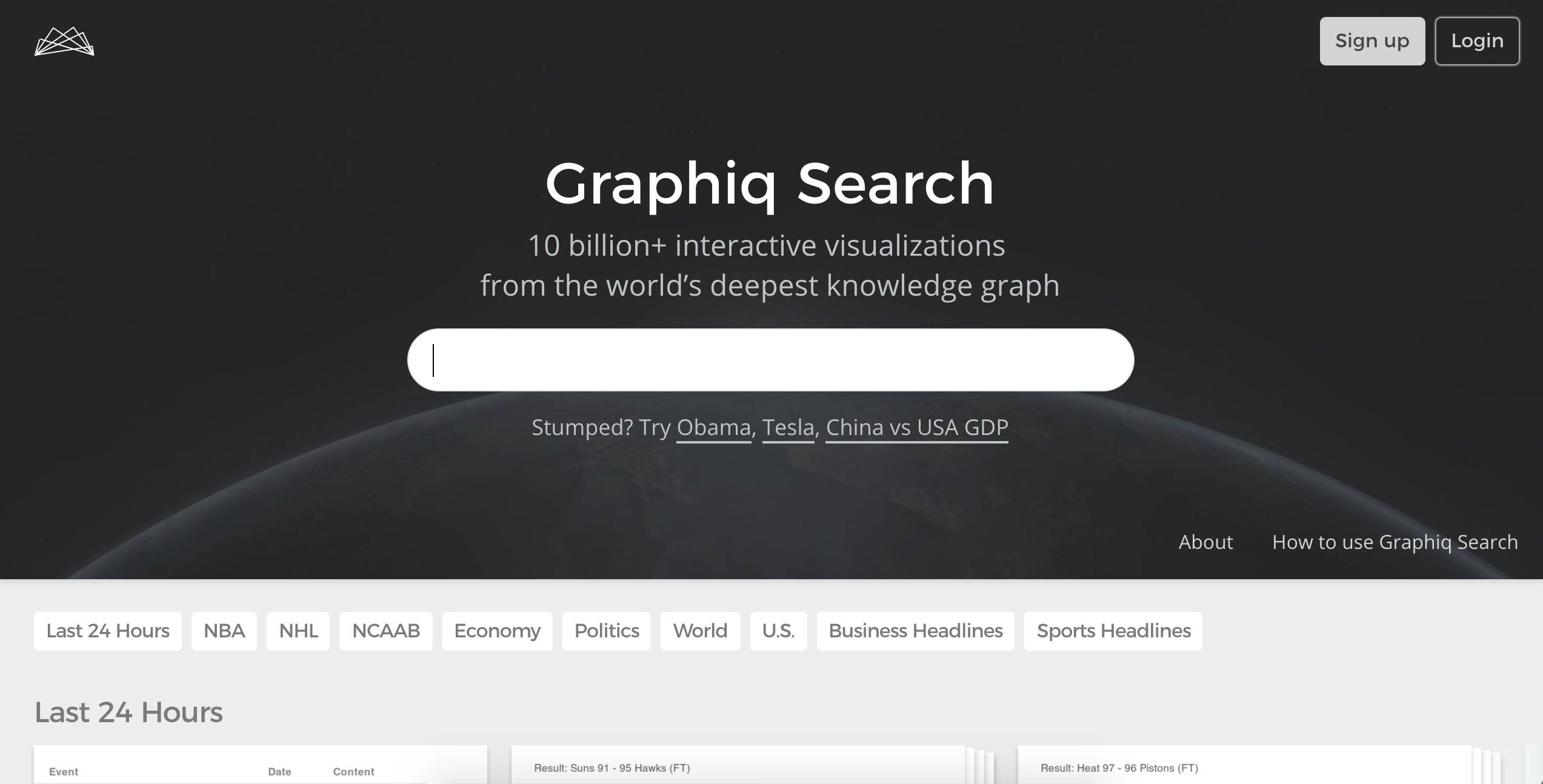 Graphiq Demo - Graphiq Search Homepage