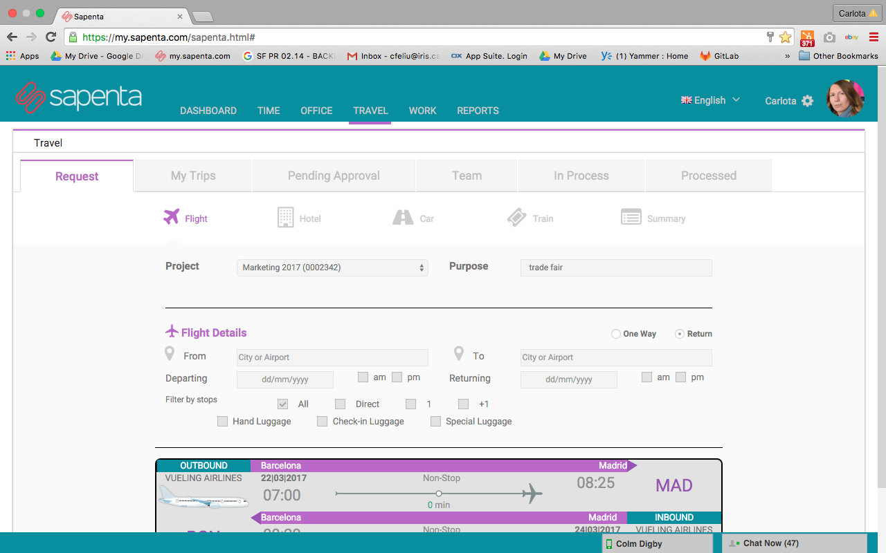 SAPENTA Demo - Flight Booking