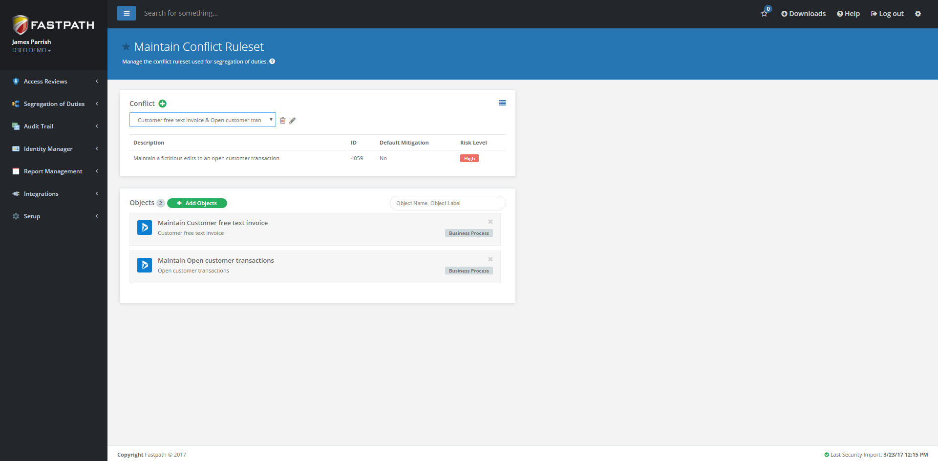 Fastpath Demo - Segregation of Duties Ruleset Customization