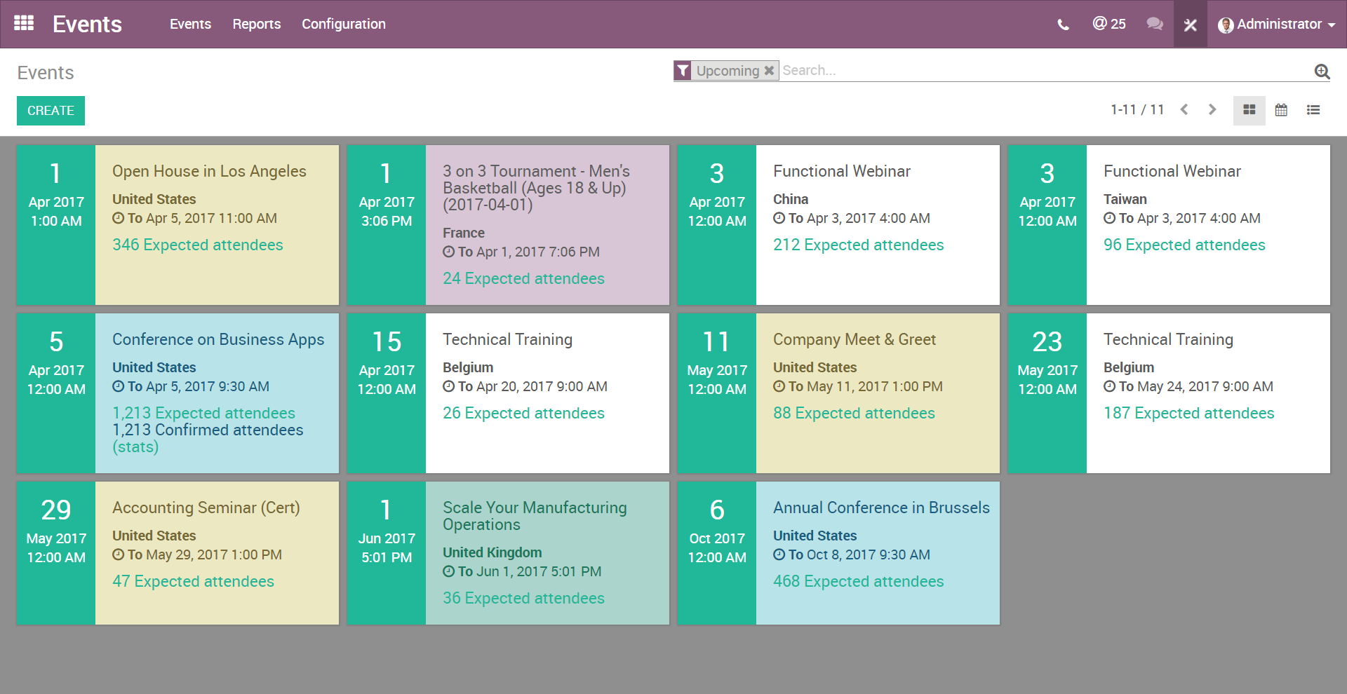 Odoo Events Demo - Odoo Events - Grid View