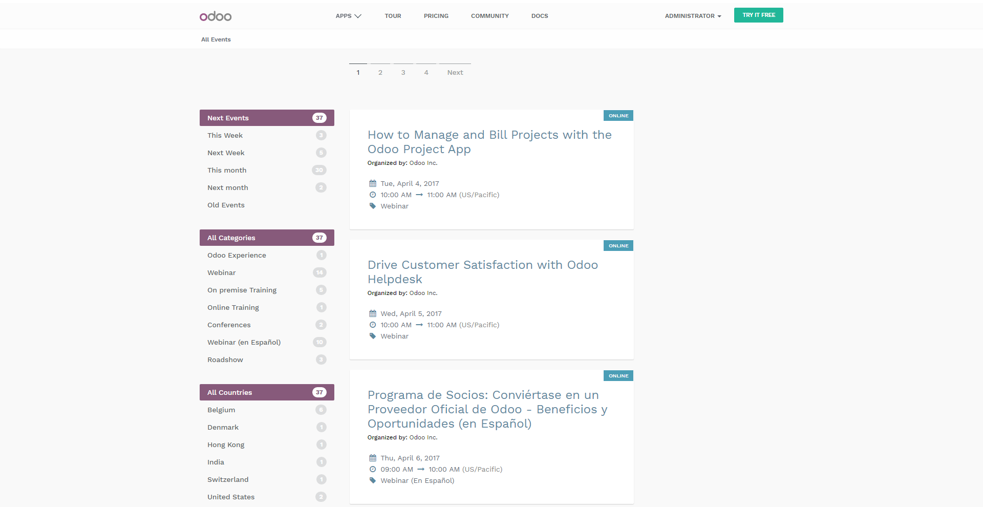 Odoo Events Demo - Odoo Events - All Events Webpage