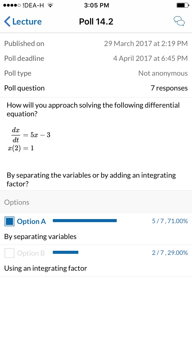 Acadly Demo - Polls with Math-TeX Support