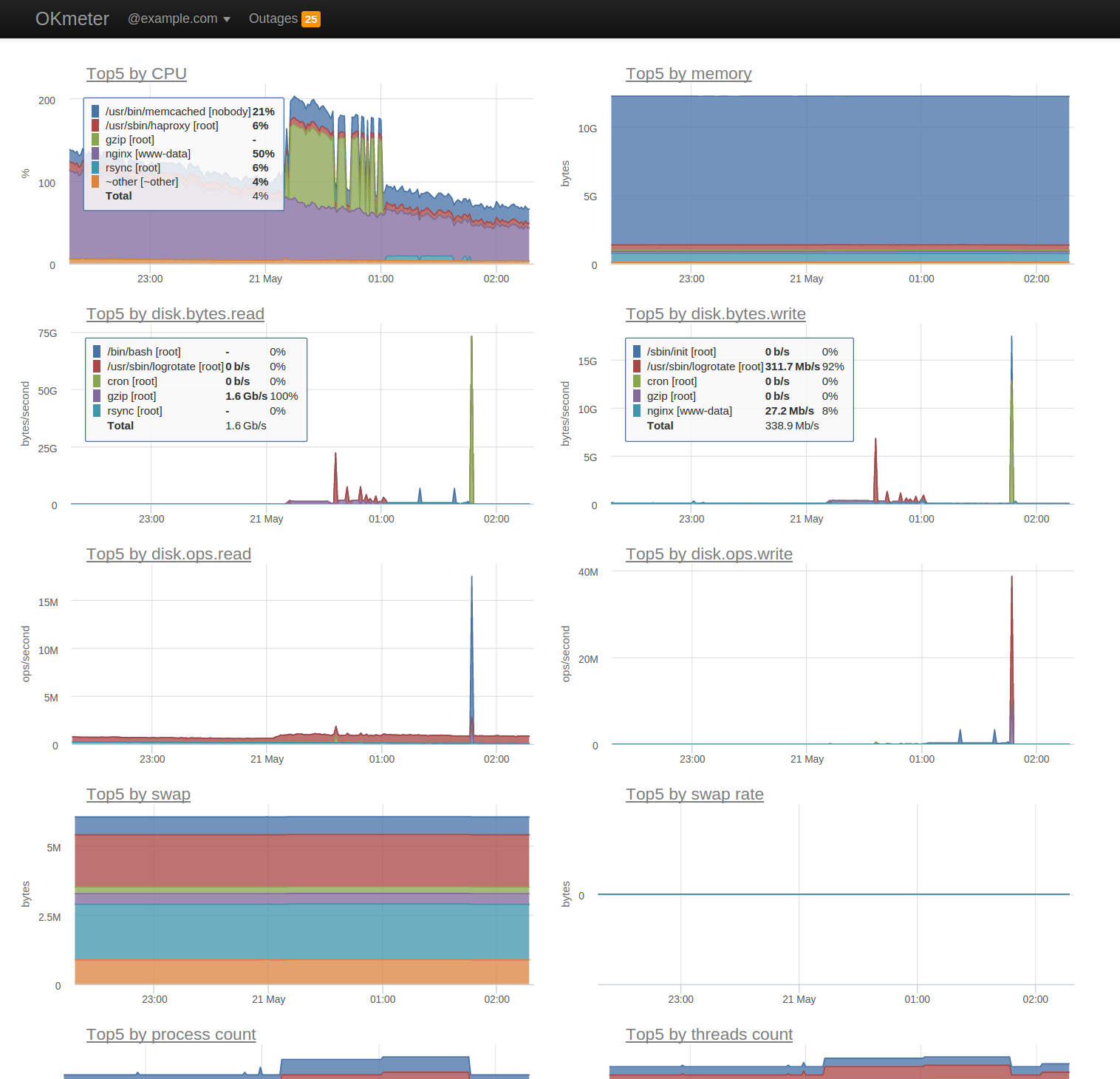 okmeter Demo - Detailed process resource consumption monitoring