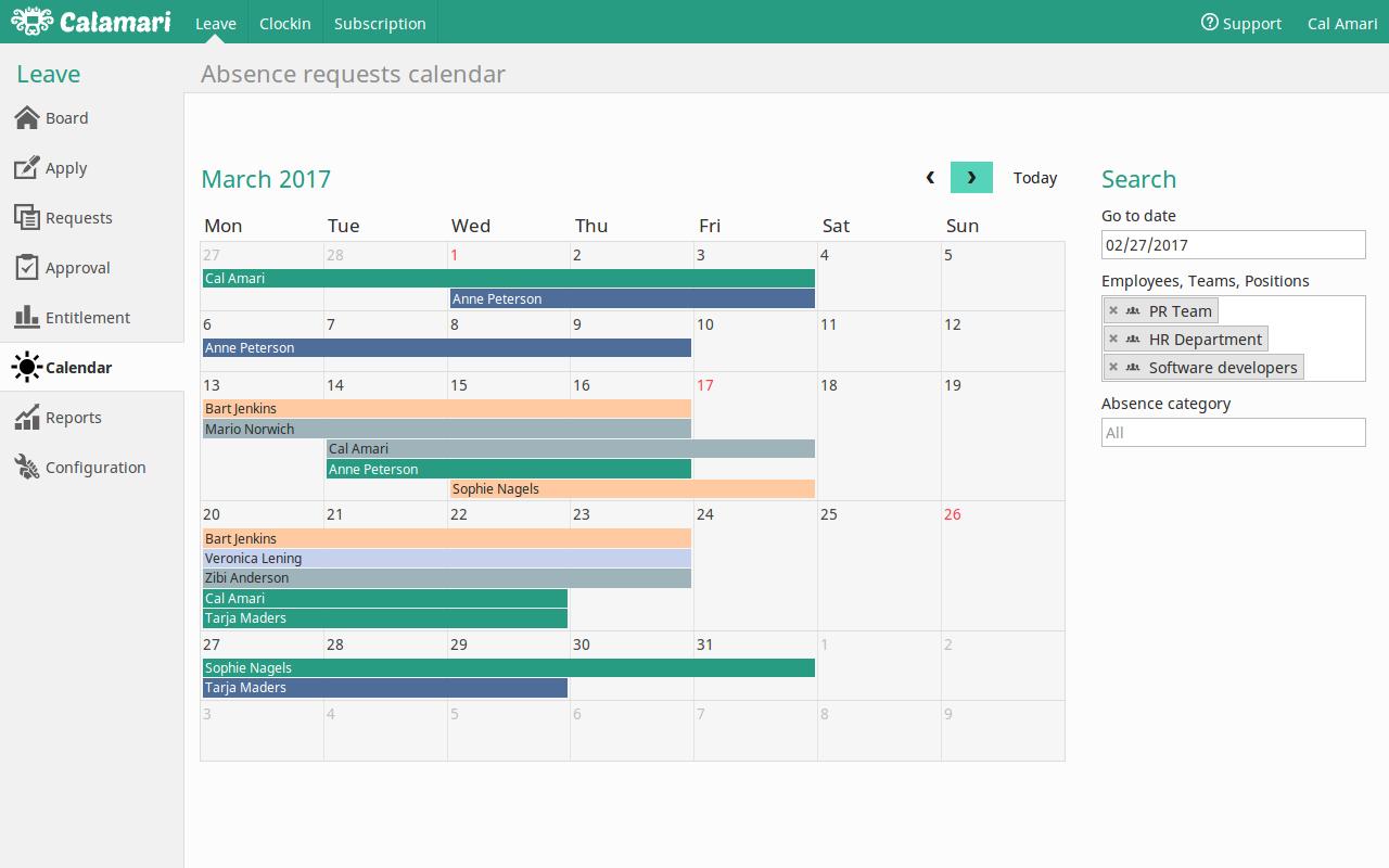 Calamari Demo - Absence Calendar