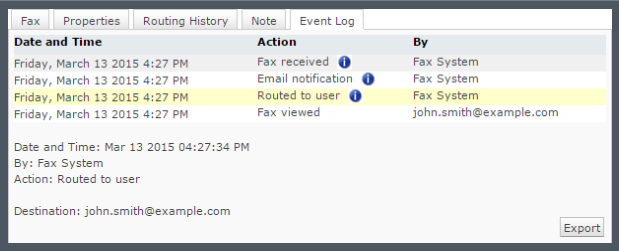 XMediusFAX® Demo - Track your faxes through an event log tab.