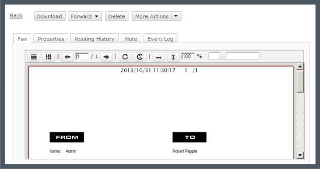 XMediusFAX® Demo - Built-in viewer in the web client.