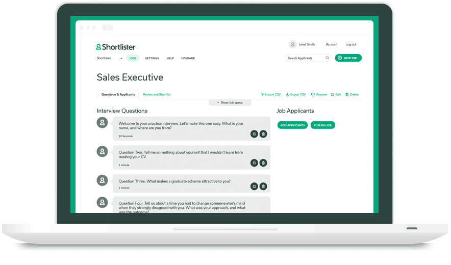 Shortlister Demo - Powerful Interview Templating
