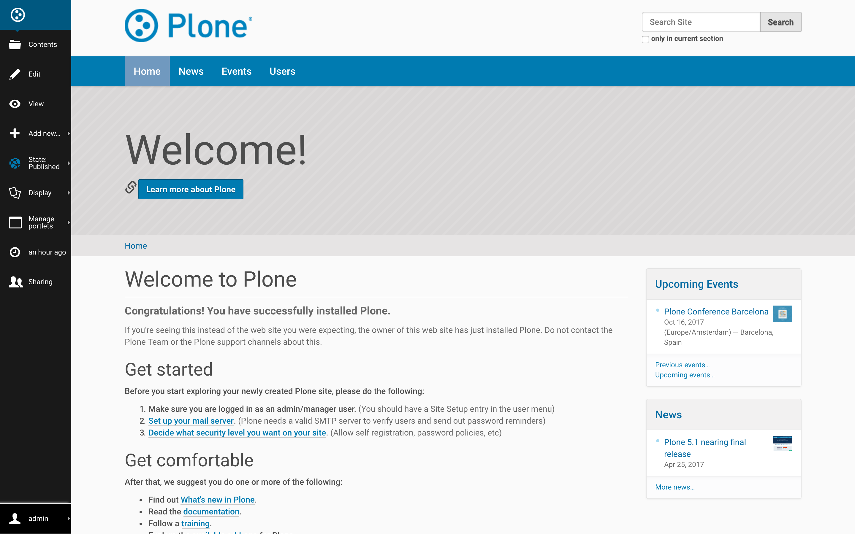 Plone CMS Demo - Plone Toolbar
