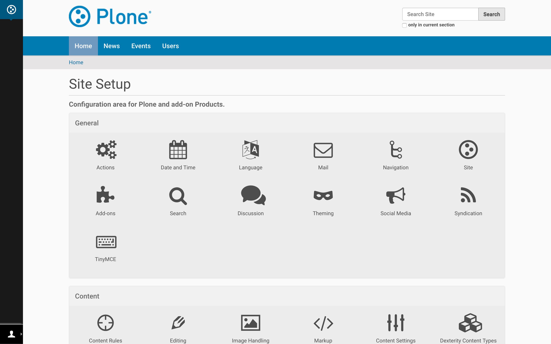 Plone CMS Demo - Plone 5.1 Control Panel