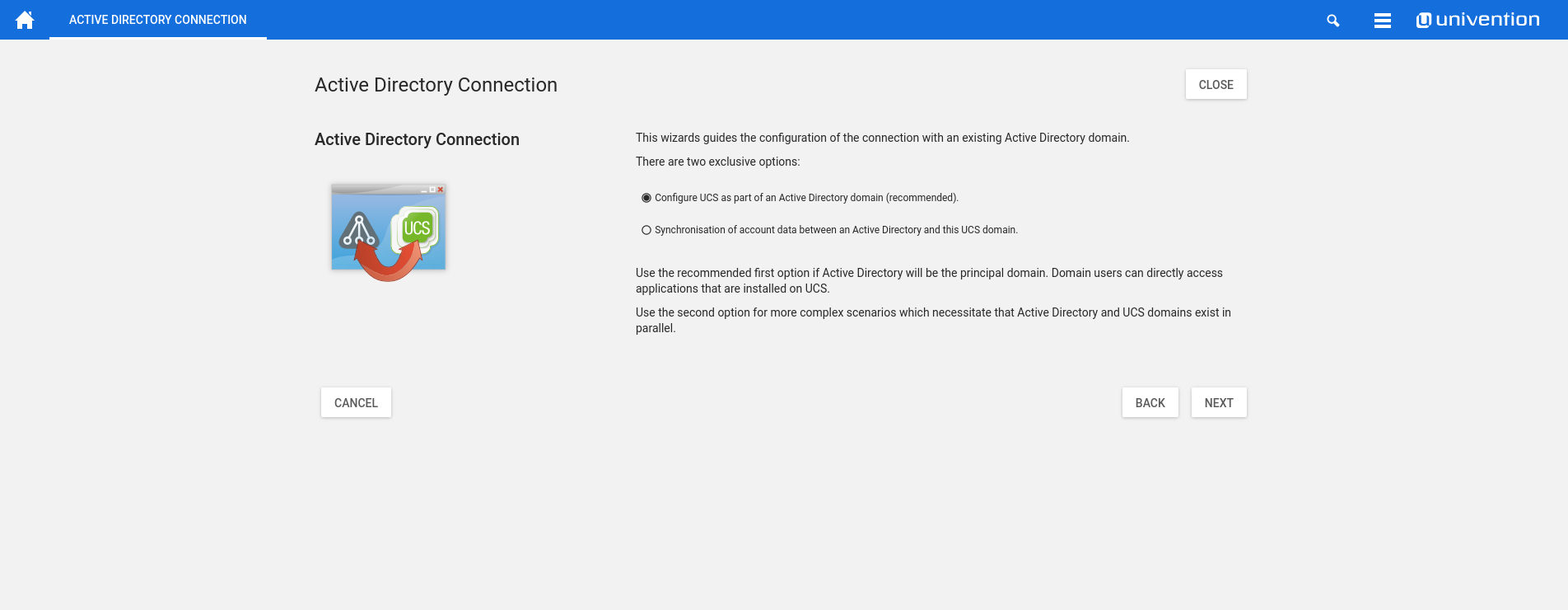 Univention Corporate Server Demo -  Active Directory Connection Tool