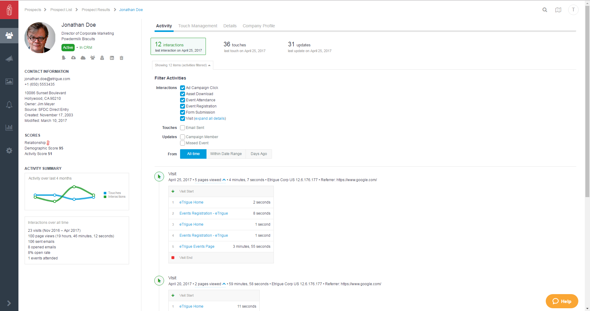 eTrigue Demo - Complete Prospect Profile