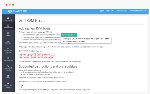Platform9 Demo - Step 1: Sign up and download host agent