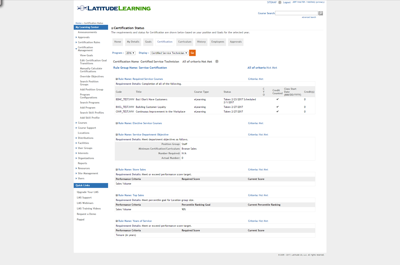 LatitudeLearning Demo - Certification page