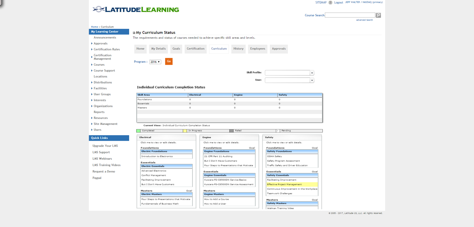 LatitudeLearning Demo - Curriculum page