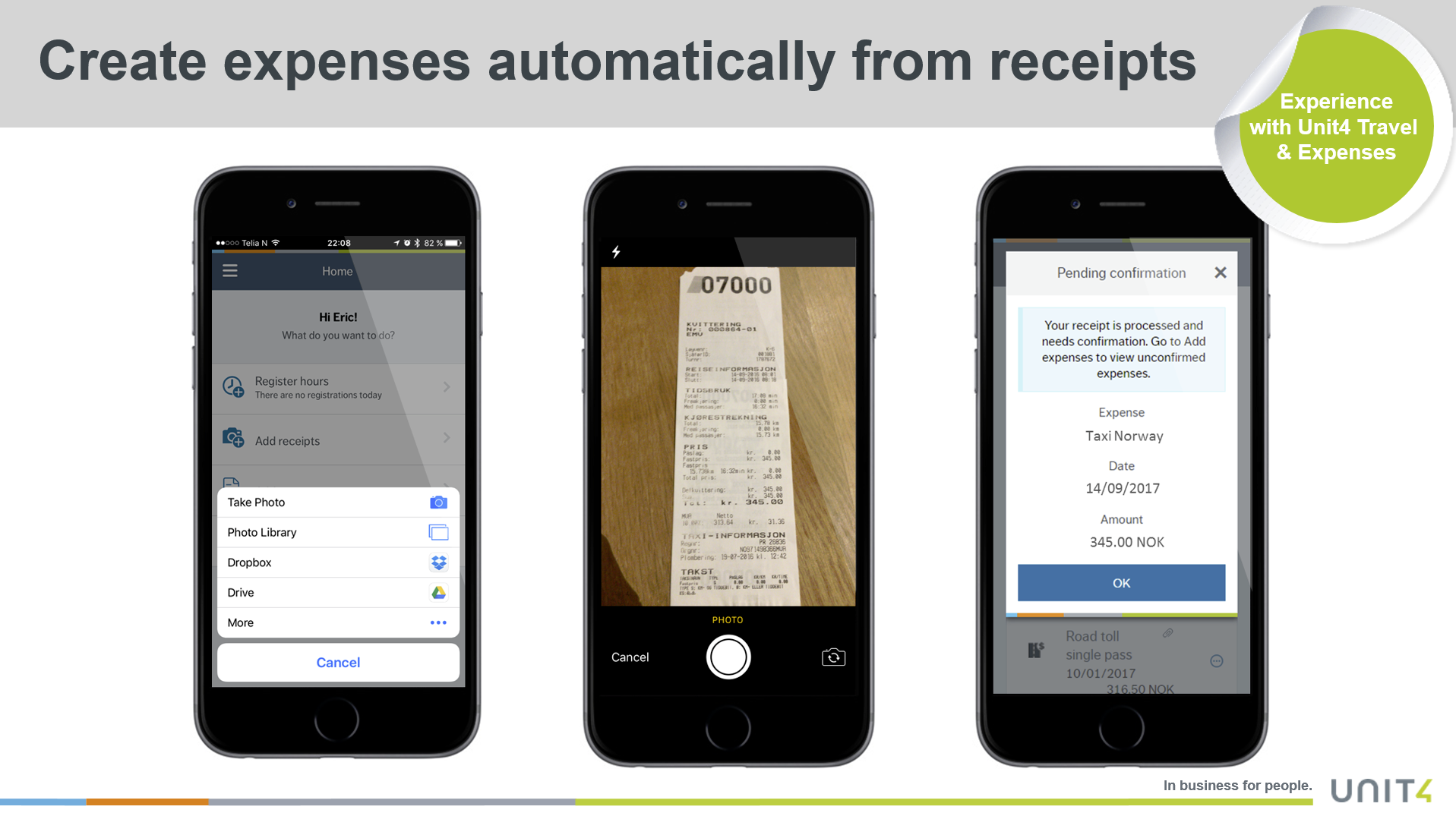 Unit4 Travel & Expenses Demo - Create expenses automatically from receipts