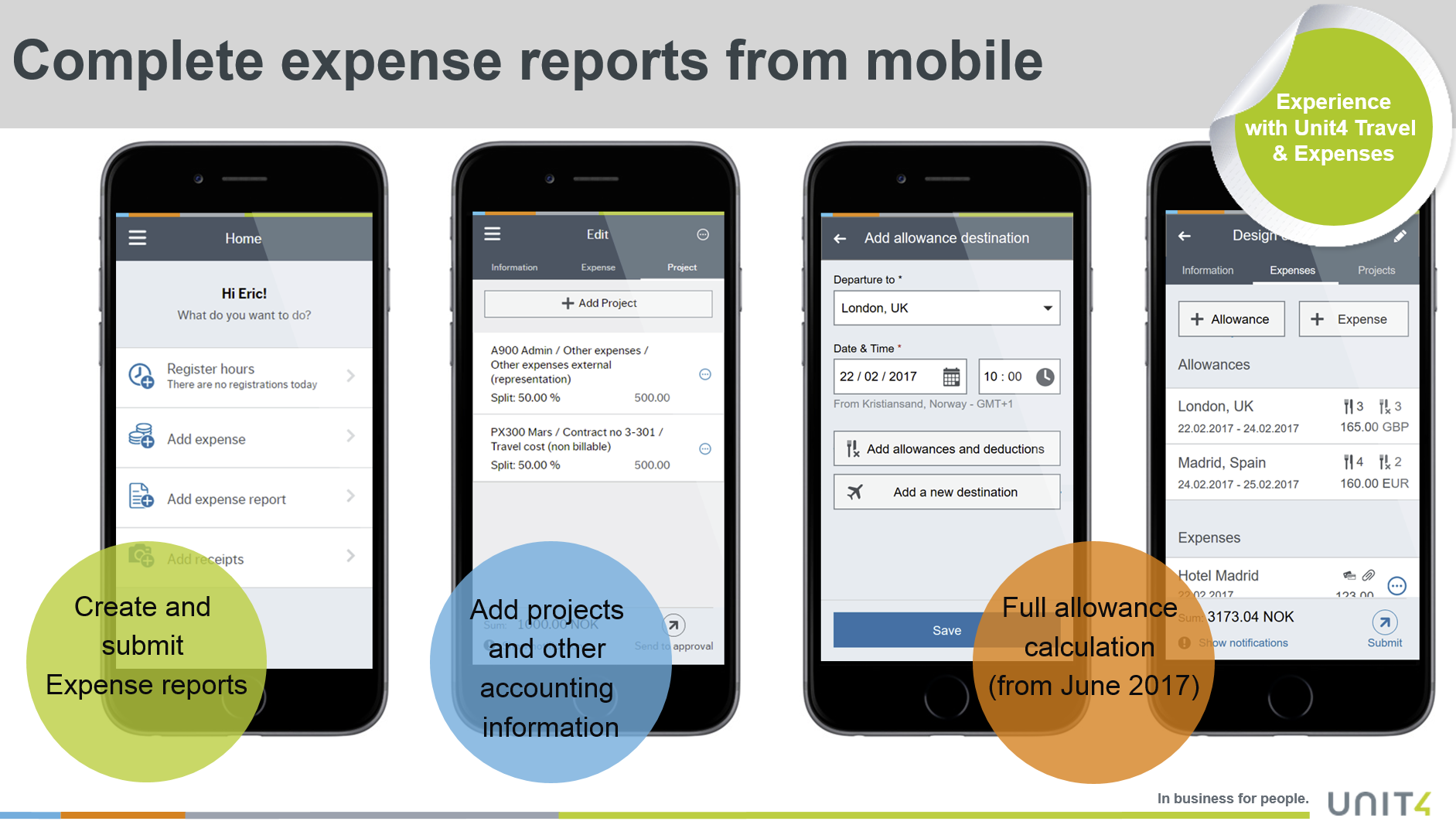 Unit4 Travel & Expenses Demo - Complete expense report from mobile