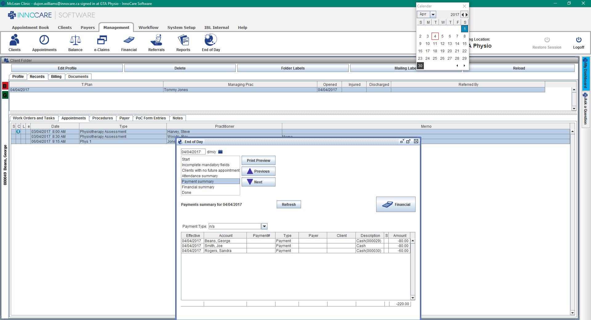 InnoCare Software Demo - InnoCare Software Reporting