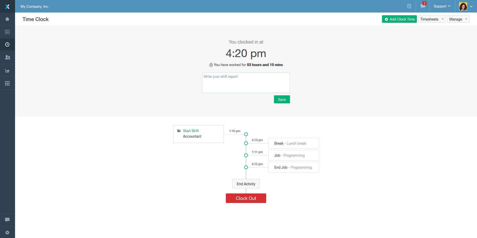 Ximble Demo - Time Tracking - Time Clock