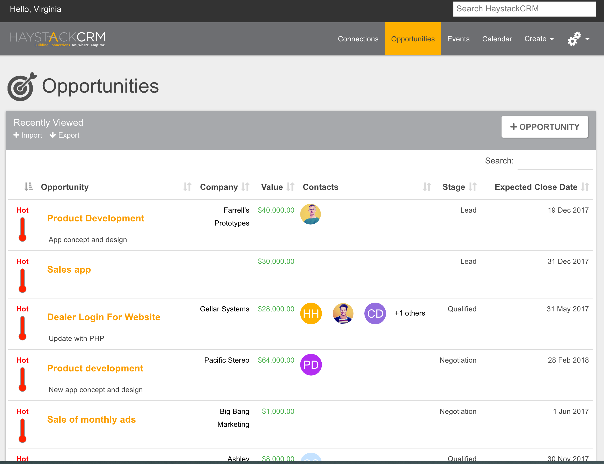 HaystackCRM Demo - Opportunity List