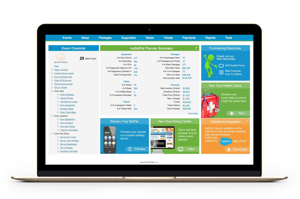 OneCause, formerly BidPal Demo - Fundraising Planner