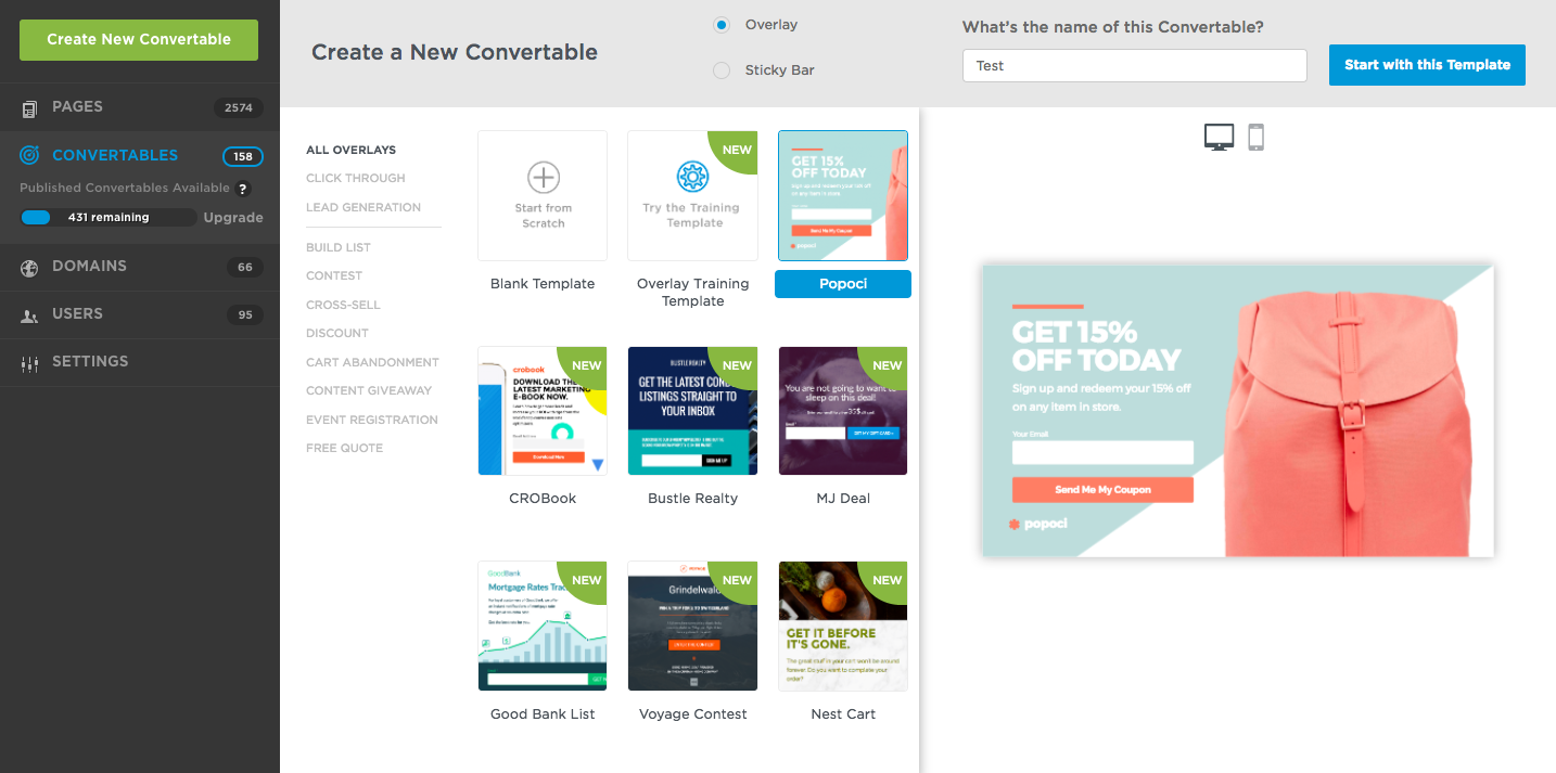 Unbounce Demo - Unbounce Convertables allow you to create targeted overlays for your landing pages and website