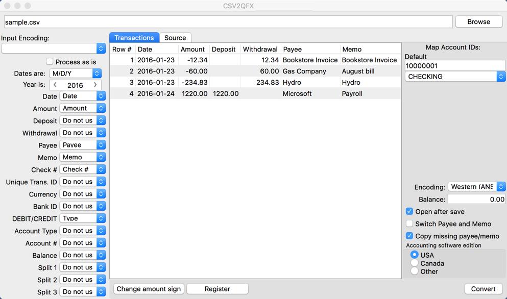 CSV2QFX (CSV to QFX Converter) Demo - CSV2QFX (CSV to QFX Converter) Main form Mac