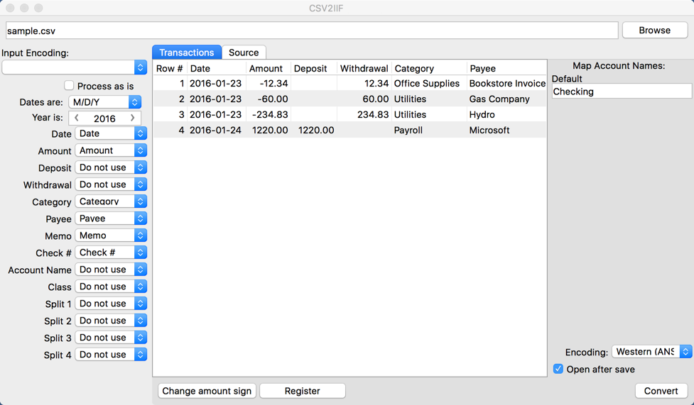 CSV2IIF (CSV to IIF Converter) Demo - CSV2IIF (CSV to IIF Converter) Main form Mac
