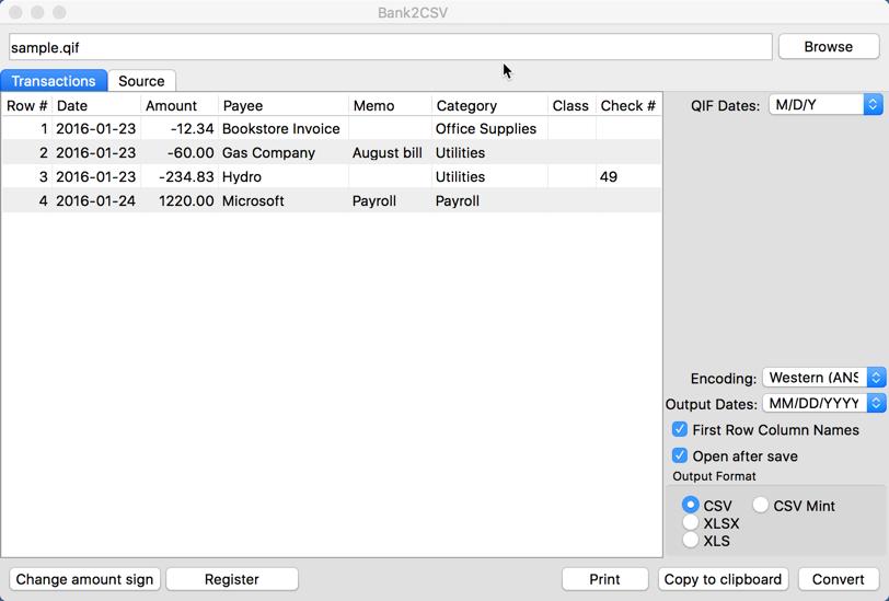 Bank2CSV Demo - Bank2CSV Main form Mac
