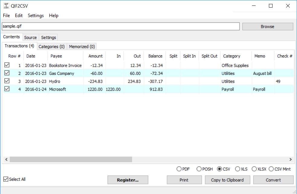 QIF2CSV (QIF to CSV/Excel/PDF Converter) Demo - QIF2CSV (QIF to CSV Converter) Main form PC