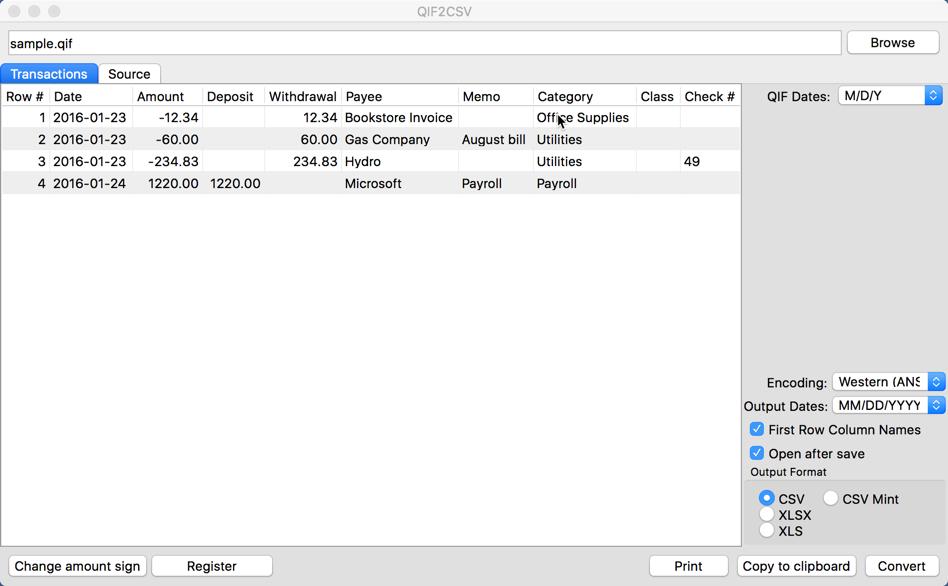 QIF2CSV (QIF to CSV/Excel/PDF Converter) Demo - QIF2CSV (QIF to CSV Converter) Main form Mac