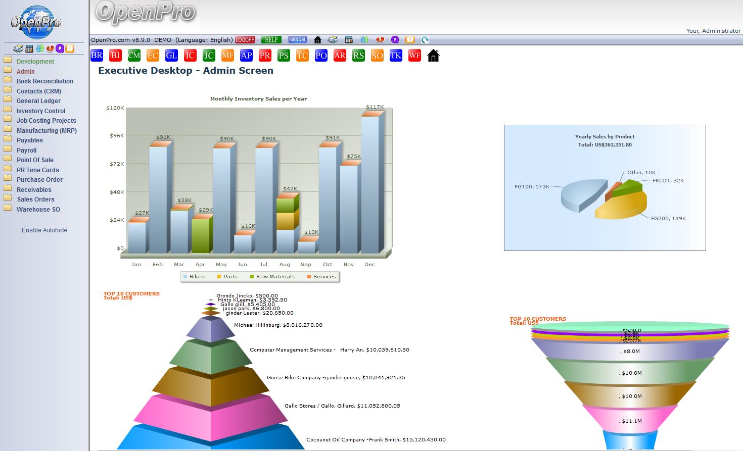 OpenPro Easy ERP Demo - OpenPro Main Menu screen