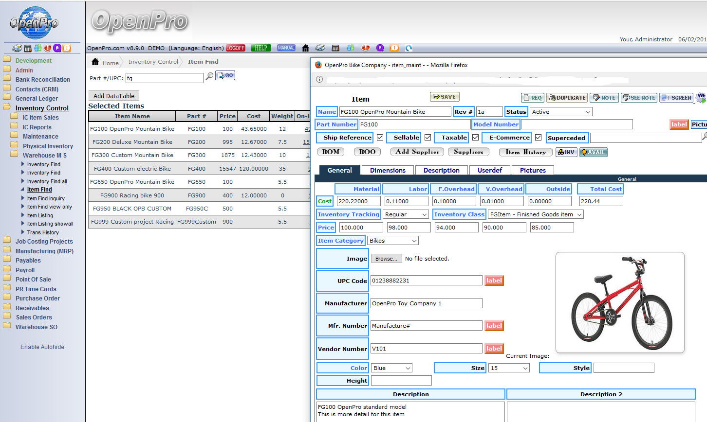 OpenPro ERP Demo - OpenPro Inventory Control system