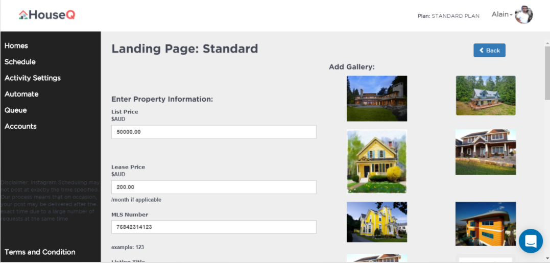 HouseQ Demo - Add Landing Pages