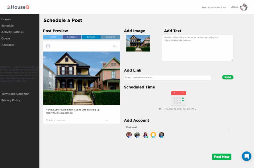 HouseQ Demo - Schedule Posts