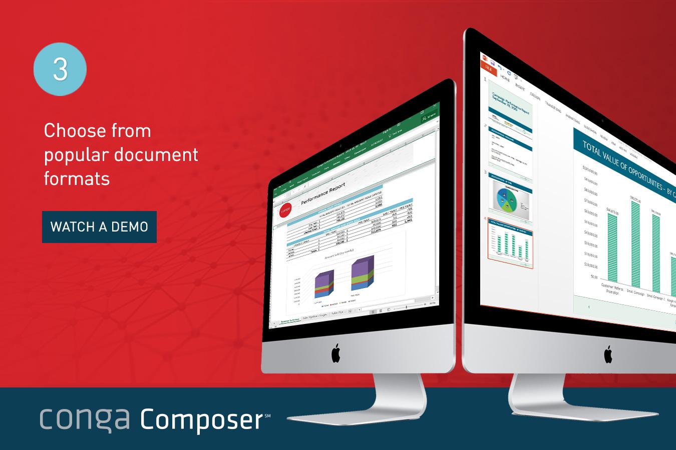 Conga Composer Demo - Popular document formats