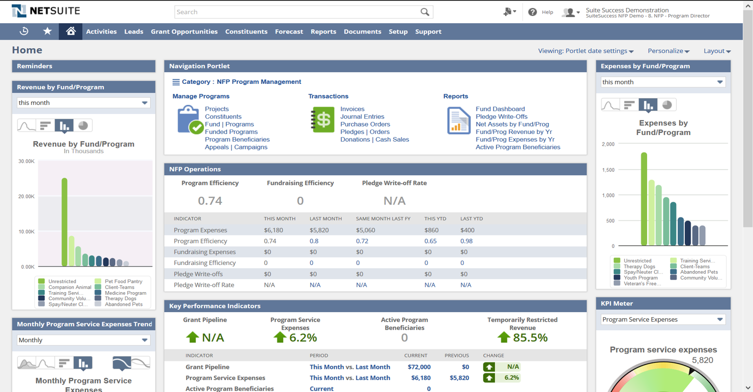 NetSuite for Nonprofits Demo - Nonprofit Dashboard
