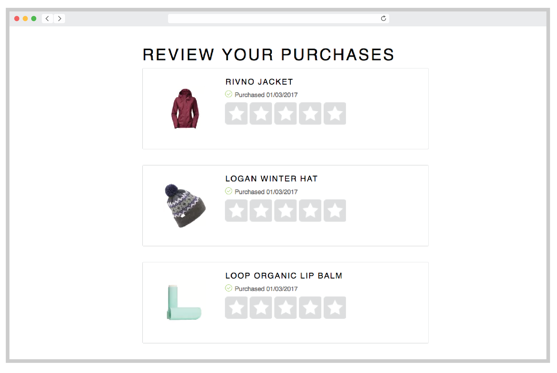 PowerReviews Demo - Review Your Purchases