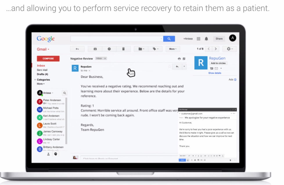 RepuGen Demo - Perform patient Service recovery and retain them as patient