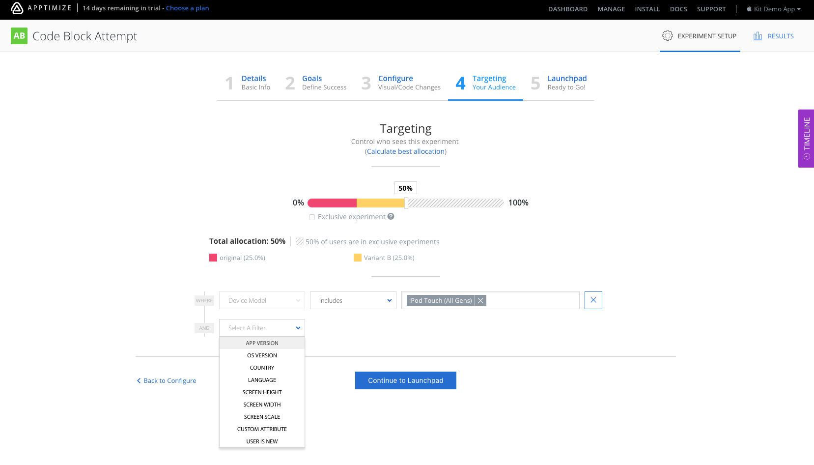 Apptimize Demo - Targeting